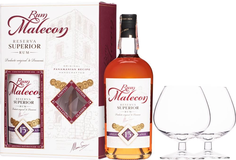 Malecon Malecon Reserva Superior 15 ročný + 2 poháre 40% 0,7l