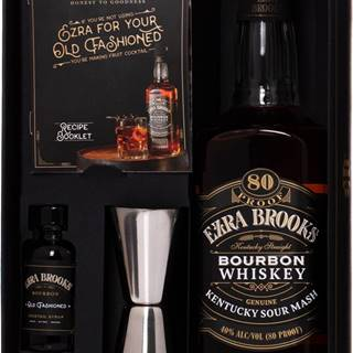 Ezra Brooks Black Label + barová odmerka + sirup 40% 0,7l