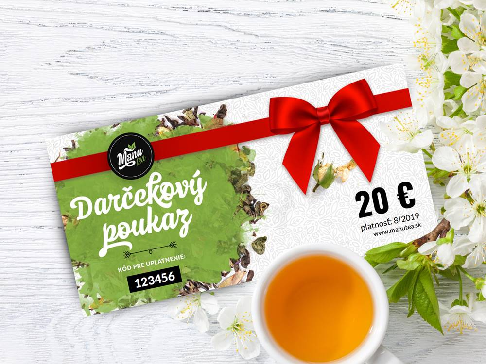 Manu tea Darčekový poukaz na 20 €