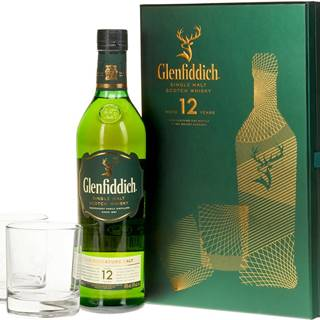 Glenfiddich 12 ročná s 2 pohármi 40% 0,7l