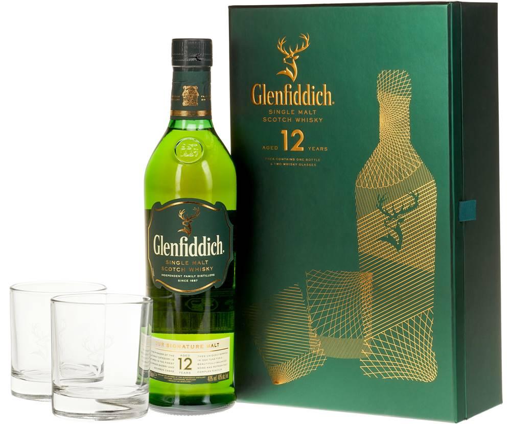 Glenfiddich Glenfiddich 12 ročná s 2 pohármi 40% 0,7l