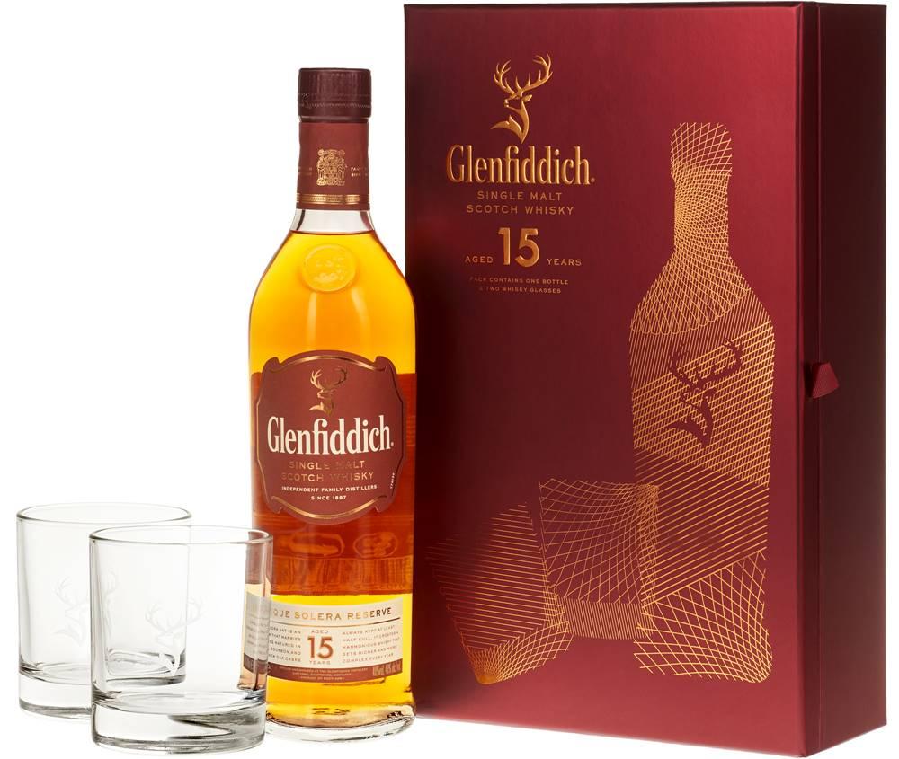 Glenfiddich Glenfiddich 15 ročná s 2 pohármi 40% 0,7l