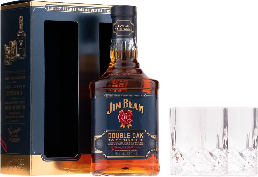 Jim Beam Jim Beam Double Oak Twice Barreled  + 2 poháre 43% 0,7l