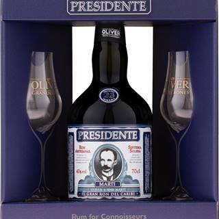 Presidente Marti 23 ročný + 2 poháre 40% 0,7l