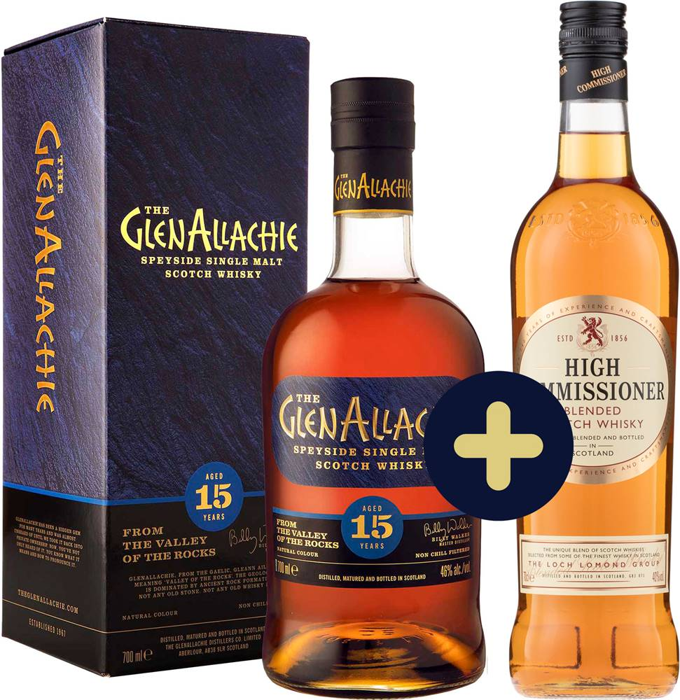 The GlenAllachie The GlenAllachie 15 ročná + High Commissioner zadarmo 43% 1,4l